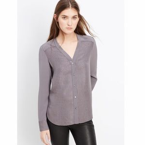 Vince. Crocodile Embossed Silk Button Blouse